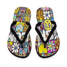 Psychedelic Shalom Flip Flops