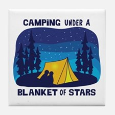 Camping Under a Blanket of Stars Tile Coaster