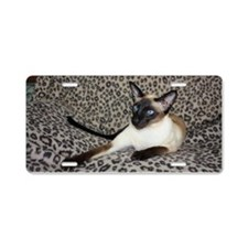 Seal Point Siamese Cat with Aluminum License Plate