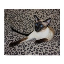 Seal Point Siamese Cat with beautifu Throw Blanket