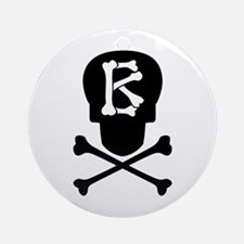 Skull & Crossbones Monogram B Ornament (Round)