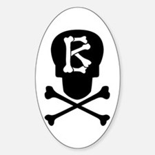 Skull & Crossbones Monogram B Sticker (Oval)