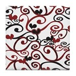 Graphic Hearts Tile Coaster