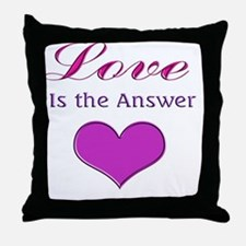 Love is the Answer Pink Heart Throw Pillow