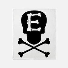 Skull & Crossbones Monogram E Throw Blanket