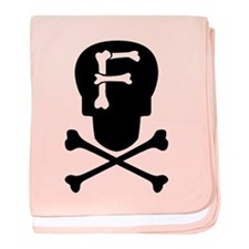 Skull & Crossbones Monogram F baby blanket