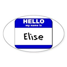 hello my name is elise Oval Decal