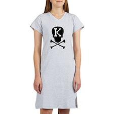 Skull & Crossbones Monogram K Women's Nightshirt