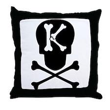 Skull & Crossbones Monogram K Throw Pillow