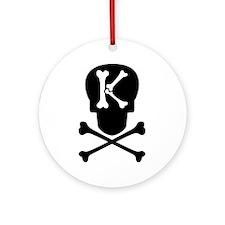 Skull & Crossbones Monogram K Ornament (Round)