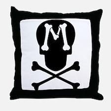 Skull & Crossbones Monogram M Throw Pillow