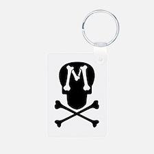 Skull Crossbones Monogram M Aluminum Keychain