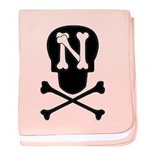 Skull & Crossbones Monogram N baby blanket