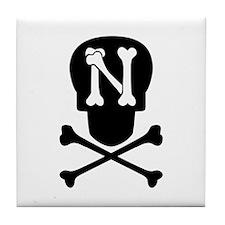 Skull & Crossbones Monogram N Tile Coaster