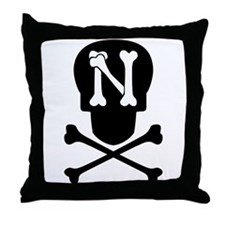 Skull & Crossbones Monogram N Throw Pillow