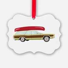 Station Wagon and Canoe Ornament