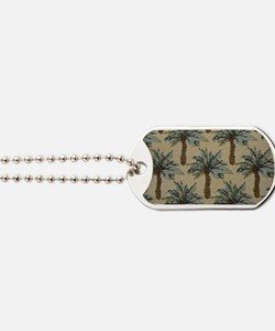 Palm Trees Fabric Pattern Dog Tags