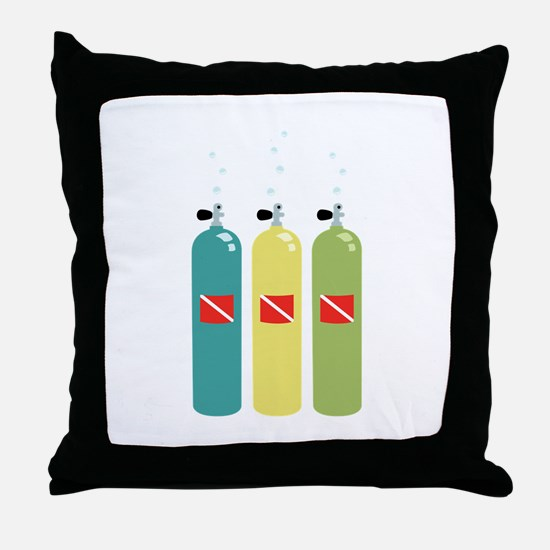 Scuba Tanks Throw Pillow