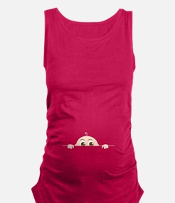 PEEK-A-BOO BABY (BROWN EYES) Maternity Tank Top