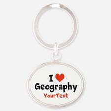 Love Geography Optional Text Oval Keychain