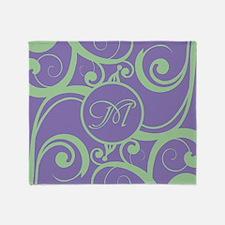 Your Monogram Whimsy Purple Throw Blanket