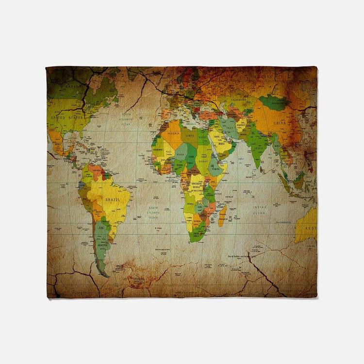 World Map V Throw Blanket