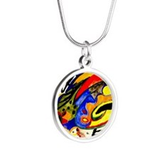 August Macke - Abstract Patt Silver Round Necklace