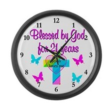 BLESSED 21 YR OLD Large Wall Clock