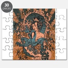 Asian beauty with dragon in a grunge design Puzzle