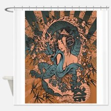 Asian beauty with dragon in a grunge design Shower