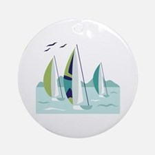 Sail Boat Race Ornament (Round)