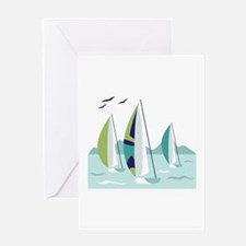 Sail Boat Race Greeting Cards