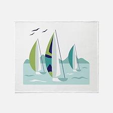 Sail Boat Race Throw Blanket