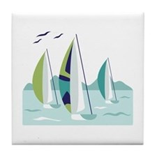 Sail Boat Race Tile Coaster