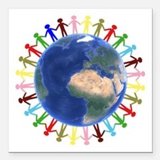 "One Earth - One People Square Car Magnet 3"" x 3"""