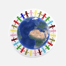 """One Earth - One People 3.5"""" Button"""