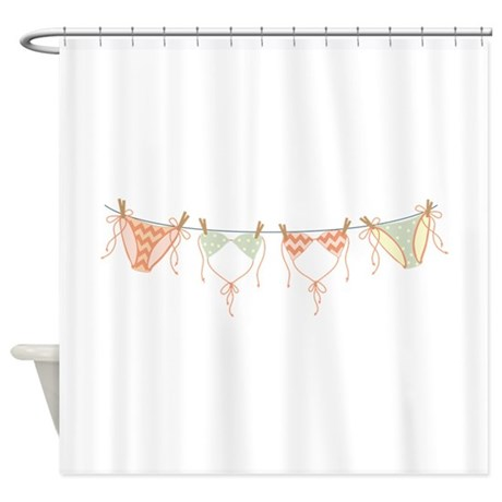 Bikini Clothes Line Shower Curtain By Hopscotch4