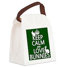 Keep Calm and Love Bunnies Canvas Lunch Bag