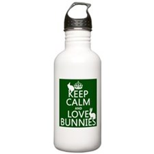 Keep Calm and Love Bunnies Sports Water Bottle