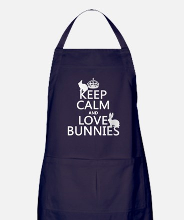 Keep Calm and Love Bunnies Apron (dark)