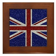 Glitters Shiny Sparkle Union Jack Flag Framed Tile