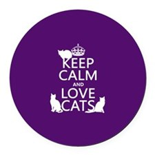 Keep Calm and Love Cats Round Car Magnet