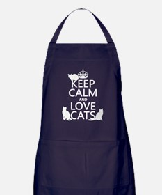 Keep Calm and Love Cats Apron (dark)