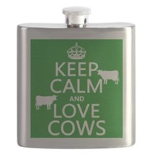 Keep Calm and Love Cows Flask