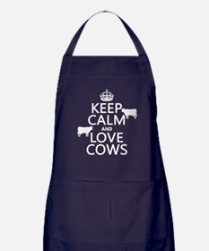 Keep Calm and Love Cows Apron (dark)
