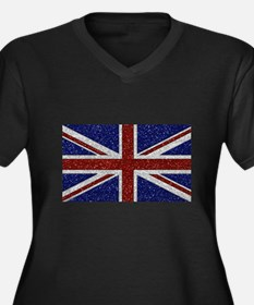 Glitters Shiny Sparkle Union Jack Flag Plus Size T