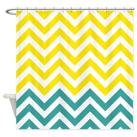 Yellow And Teal Chevrons Shower Curtain By Showercurtainsworld