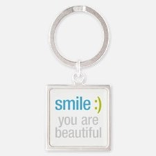 Smile Beautiful Square Keychain