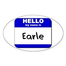 hello my name is earle Oval Decal