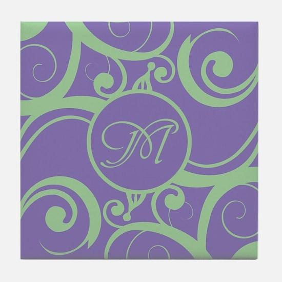 Your Monogram Whimsy Purple Tile Coaster